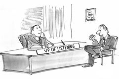 VP av att lyssna royaltyfri illustrationer