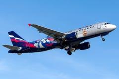 VP-BWD Aeroflot, Airbus A320 - 200, libré do clube do futebol de CSKA Moscou Fotografia de Stock