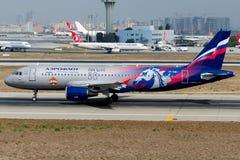 VP-BWD Aeroflot, Livree Airbusses A320-214 CSKA Lizenzfreies Stockfoto