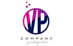 VP V P Circle Letter Logo Design avec Dots Bubbles pourpre Images libres de droits