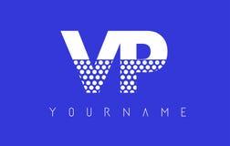VP V P Dotted Letter Logo Design con el fondo azul Fotografía de archivo libre de regalías