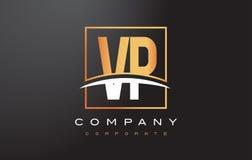 VP V P Golden Letter Logo Design with Gold Square and Swoosh. VP V P Golden Letter Logo Design with Swoosh and Rectangle Square Box Vector Design Royalty Free Stock Image