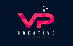 VP V P Letter Logo avec le bas poly concept rose pourpre de triangles Image libre de droits