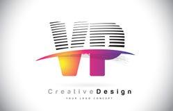 VP V P Letter Logo Design With Creative Lines et Swosh dans Purpl Photo libre de droits