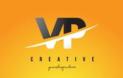 VP V P Letter Modern Logo Design avec le fond jaune et le Swoo illustration stock