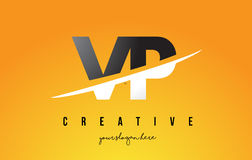 VP V P Letter Modern Logo Design with Yellow Background and Swoo Royalty Free Stock Image