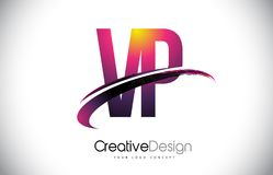 VP V P Purple Letter Logo avec la conception de bruissement Magenta créatif M Photos libres de droits