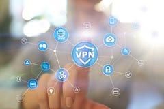 VPN虚拟专用网络协议 网络安全和保密性连接技术 匿名互联网 免版税库存图片