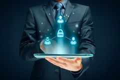 VPN concept. Computer users connected via virtual private network. Private network security concept stock photos