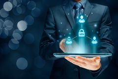 VPN concept. Computer users connected via virtual private network. Private network security concept stock image