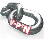 VPN 3d Letters on Chain Links in Secure Connection Virtual Perso Royalty Free Stock Image