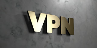 Vpn - Gold sign mounted on glossy marble wall  - 3D rendered royalty free stock illustration. This image can be used for an online website banner ad or a print Stock Image