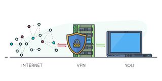 VPN scheme line banner. VPN protection. Line style laptop connected to protected vpn server. VPN server with shield connect to internet. Online secure connection vector illustration