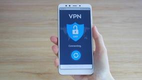 VPN Rede virtual privada Girando sobre VPN no smartphone Criptografia de dados Substituto do IP Seguran?a do Cyber e video estoque