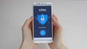 VPN Rede virtual privada Girando sobre VPN no smartphone Criptografia de dados Substituto do IP Seguran?a do Cyber e vídeos de arquivo