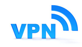 Vpn. Text with wireless waves Royalty Free Stock Photography