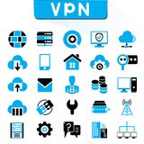 VPN, virtual private network icons. Set of 25 VPN, virtual private network icons, blue color theme Stock Images