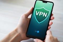 VPN-virtueel particulier netwerk, anonieme en veilige internettoegang Het concept van de technologie stock afbeeldingen