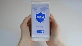 VPN Virtuelles privates Netz VPN auf dem Smartphone einschalten Daten-Verschl?sselung IP-Ersatz Internetsicherheit und stock video