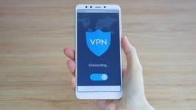 VPN Wirtualna Intymna sie? Obraca? dalej VPN na smartphone Dane utajnianie IP namiastka Cyber ochrona i zdjęcie wideo