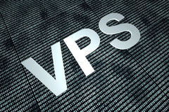 VPS and binary Code. Virtual Private server and binary code. 3d rendered illustration Royalty Free Stock Photography