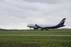 VQ-BEK Aeroflot - Russian Airlines Airbus A330-343 is departing from Polderbaan. 18R - 36L on Amsterdam schiphol airport in the Netherlands stock photography
