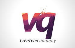 VQ V Q Letter Logo Design with Purple Forest Texture Flat Vector Stock Image