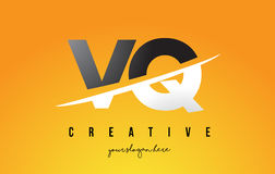 VQ V Q Letter Modern Logo Design with Yellow Background and Swoo Royalty Free Stock Photo