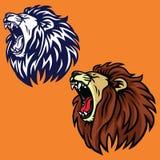 Vråla den Lion Set Logo Vector Cartoon designmallen stock illustrationer