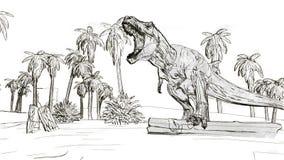 Vråla för dinosaurietyrannosarie royaltyfri illustrationer