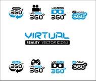 VR 360 εικονίδια εικονικής πραγματικότητας καθορισμένα Στοκ Φωτογραφία