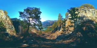 VR сцены горы на времени осени солнечном Дикие горы, сосна и огромные утесы акции видеоматериалы