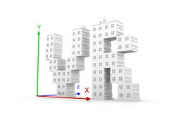 Vr axis building. White background 3d illustration Stock Photography