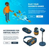 VR banners. Virtual game simulation portable reality equipment helmet headset glasses vector isometric pictures. Helmet device, headset innovation for video vector illustration