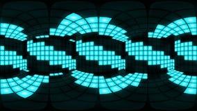 360 VR Blue disco nightclub dance floor wall light grid background vj loop stock video footage