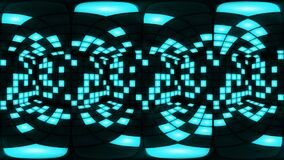 360 VR Blue disco nightclub dance floor wall light grid background vj loop stock video