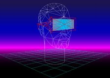 VR Box Virtual Reality 3D Glass for 3D Games and 3D Movies. 80s Retro Sci-Fi Background with VR Headset. Vector futuristic. Synth retro wave illustration in Stock Images