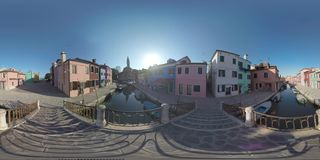 360 VR Burano street and canal, view with San Martino church. Italy stock footage