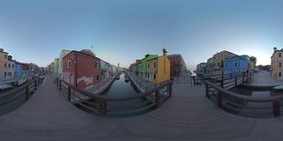 360 VR Canals and streets with brightly painted houses on Burano island, Italy stock footage