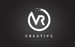 VR Circular Letter Logo with Circle Brush Design and Black Background. vector illustration