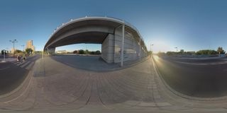 360 VR City motorways and family crossing the road, Valencia stock video footage