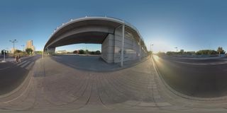 360 VR City road at sunset and family crossing it on zebra, Valencia stock footage