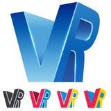 VR combiné marque avec des lettres le signe 3D bleu de réalité virtuelle illustration libre de droits