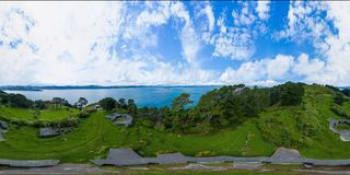 VR 360 degrees panorama, Wellington New Zealand World War II Bunkers stock photos