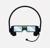 Vr del juego del equipo de las auriculares de los vidrios de la realidad Imagen de archivo