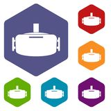 Vr device icons set hexagon Royalty Free Stock Images