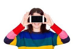 Vr do telefone da mulher fotografia de stock royalty free