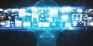VR e conceito da simulação ilustração royalty free