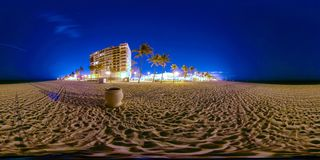360 spherical image beach at night Stock Photos