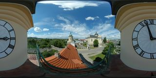 360 vr european city hall 4k panoramic stock video footage